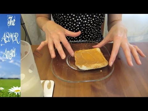 ASMR Eating Sounds - Peanut Butter on Toast and Milk *No Whisper*