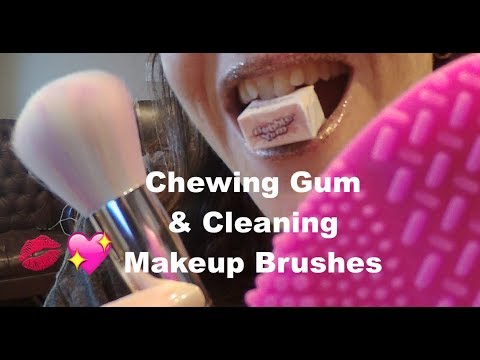 ASMR Chewing Gum and Cleaning Makeup Brushes.  Whispered