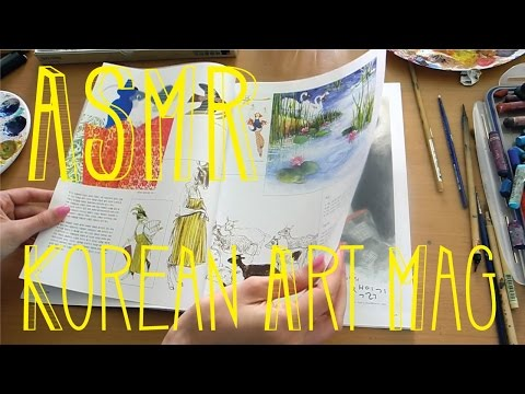 ASMR Turning Pages of a Korean Art Magazine - Soft Spoken Comments - Little Watermelon