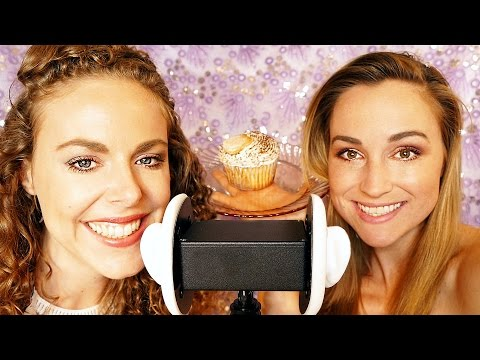 Double ASMR Wet Mouth Sounds & Eating Cupcakes! Binaural Ear to Ear Whisper, 3Dio Lip Smacking