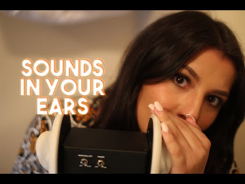 ASMR Sounds In Your Ears (brushing, mouth sounds, inaudible whispering)