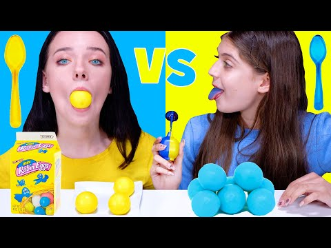 ASMR Blue Food VS Yellow Food Challenge 음식 챌린지 by LiLiBu