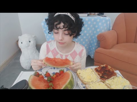 MUKBANG: toast with egg salad, peanut butter and jelly, watermelon