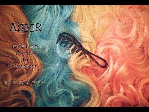ASMR Extremely Knotty Hair Brushing . Ear To Ear . No Whispering
