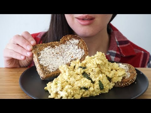 ASMR Eating Sounds: The BEST Tofu Scramble (No Talking)