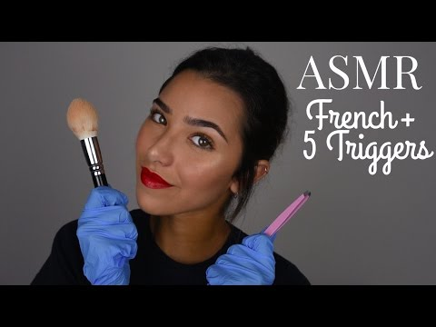 ASMR French + 5 Triggers (Latex gloves, Mic brushing, Plastic on mic, tweezers...) | ASMR Français