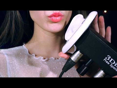 ASMR Ear Eating, Blowing, Kiss, Mouth Sounds with White Noise BINAURAL 3Dio
