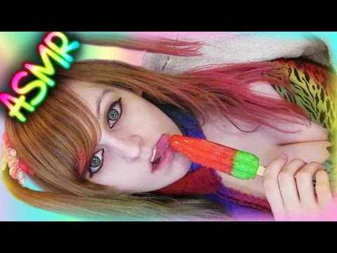 ASMR 🍨 Popsicle Licking ░ Mouth Sounds ♡ Food, Candy, Eating, Ice Lolly, Pop, Cream ♡