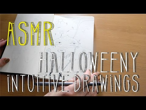 ASMR Halloweeny Intuitive Drawings | No Talk | LITTLE WATERMELON