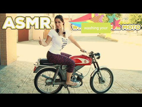 ASMR -🛵 DERBI CAMPEONA - ASMR  OUTDOOR- ROLEPLAY LIMPIANDO TU MOTO - WATER SOUNDS