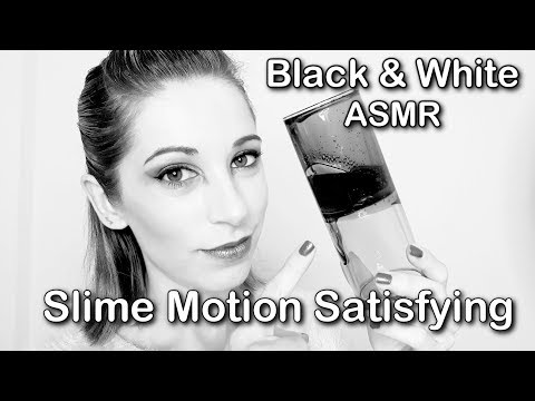 Satisfying Slime ASMR . Black and White Video . Slime motion . Inaudible   Glass tapping