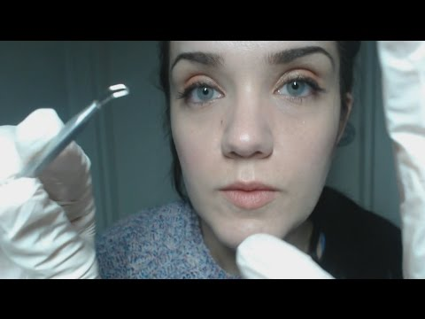 ASMR Facial Extraction Role Play - Latex, Whispering, Close Up