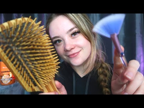 ASMR CARING FOR YOU WHILE YOU'RE SICK ROLEPLAY! Hair Brushing, Spraying, Face Touching, Tapping