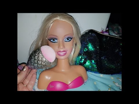 Relaxing Asmr - Face Brushing Barbie Doll Head  & whispering