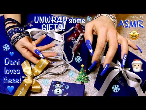NEW!🎄💎Happy Xmas for Dani! She loves these GIFTS😍💎🎅🏻 🎧 Binaural Perfect ASMR 😴 UNWRAPPING sound ❄️✨💙