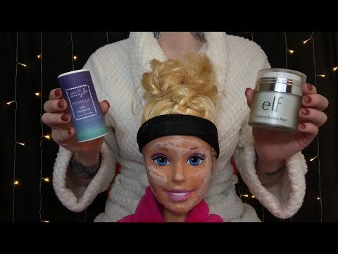 ASMR BINAURAL PAMPERING ON DOLL HEAD | Bubble Mask, Facial Tonic, Scalp Massage & More