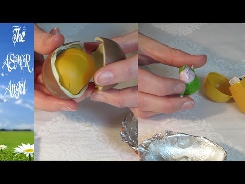 ASMR Whispering and Unwrapping a Kinder Surprise Egg