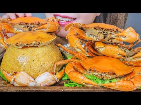ASMR EATING VIETNAMESE CRAB STICKY RICE X BOILED CRAB , EATING SOUNDS   LINH-ASMR