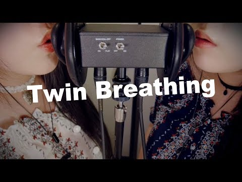 ASMR Twin Breathing & Ear Sucking with Blowing 😂쌍둥이의 숨결