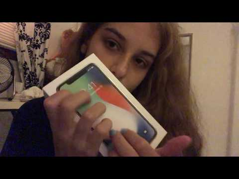ASMR - iPhone X unboxing and mic/camera test - whispering, tapping, scratching