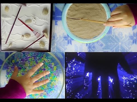Satisfying Binaural ASMR: Zen Garden, Kinetic Sand, Water Gems/Marbles, & Fiber Optic Light