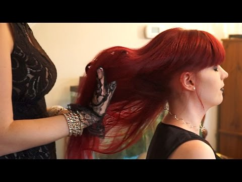 ♥ ASMR Scalp Massage & Hair Play ♥ - Binaural Whisper Goth Girl Cosplay