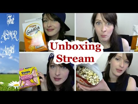 ASMR Unboxing, Eating and Whispering Video - Food from the USA Live Stream
