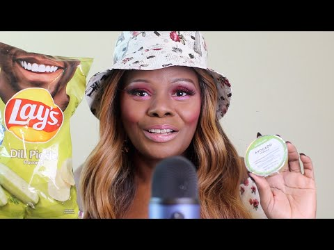Dill Pickle Lays Avocado Dip ASMR Eating Sounds