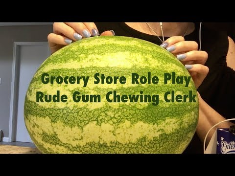 ASMR Gum Chewing Rude Grocery Store Role Play. Whispered & Funny