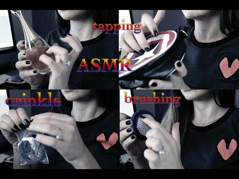 ASMR tapping, crinkle and brush sounds (normal speed )