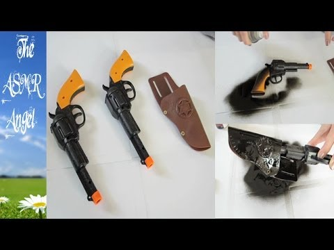 ASMR Binaural Spray Painting Plastic Toy Guns with whisper
