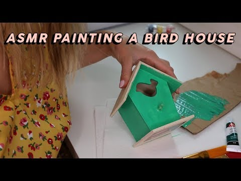 ASMR PAINTING A BIRD HOUSE (Tapping, Brush Strokes…) | GwenGwiz