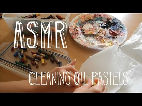 ASMR Cleaning Oil Pastels - Soft Tissue Paper Sounds - No Talking - Little Watermelon
