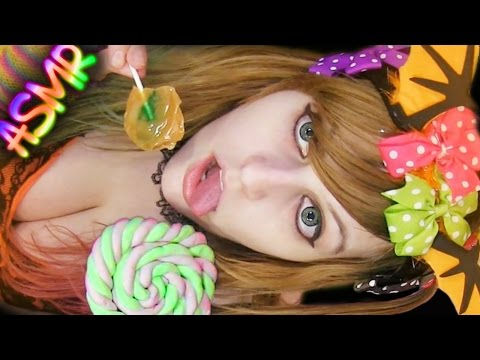 ASMR 🍭 Lollipop Licking ░ Mouth Sounds ♡ Caramel Apple, Marshmallow, Candy, Food, Eating, Crinkle ♡