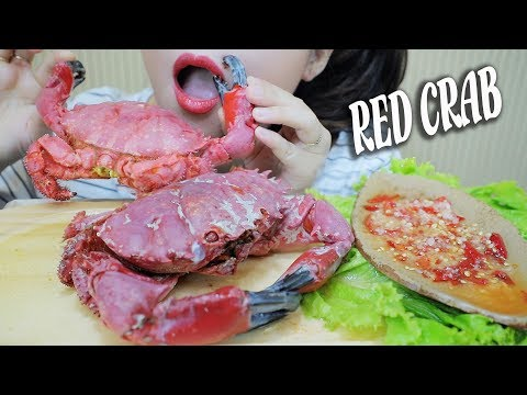 ASMR RED CRABS (EXOTIC FOOD) MESSY CRACKLING EATING SOUNDS | LINH-ASMR
