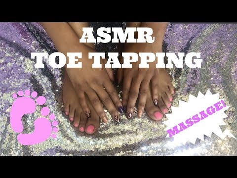 ASMR FOOT MASSAGE | TOE AND FOOT TAPPING 👣| TINGLY SEQUIN SOUNDS