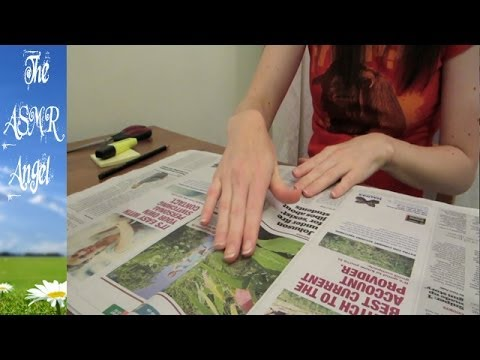 ASMR - Newspaper page turning, cutting, highlighting and writing sounds