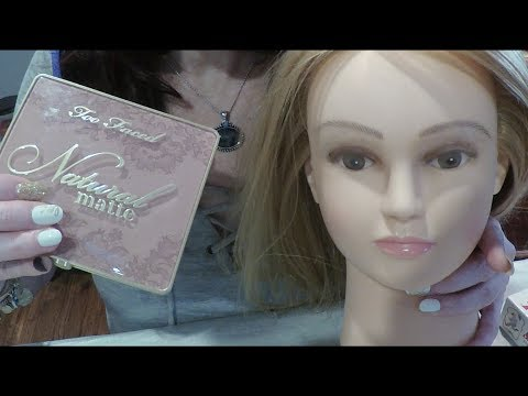 ASMR Gum Chewing Makeup Palette Application on Doll Head.  Whispered