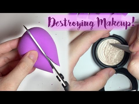 ASMR ✵ Cutting up a Makeup Sponge and Destroying Eyeshadow!   tapping, scratching, soft whispers