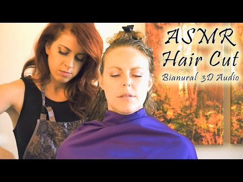 💇 Binaural ASMR Haircut, Hair Brushing & Scalp Massage - 3D Scissors & Softly Spoken, Real Roleplay