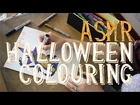 ASMR Halloween Colouring with Pens and Markers | No Talk | LITTLE WATERMELON