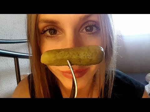 ASMR - Eating sounds - extra crunchy snack - pickles, carots, grapes