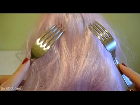 ASMR Forks Scalp Scratching & Hair Play . Whispering