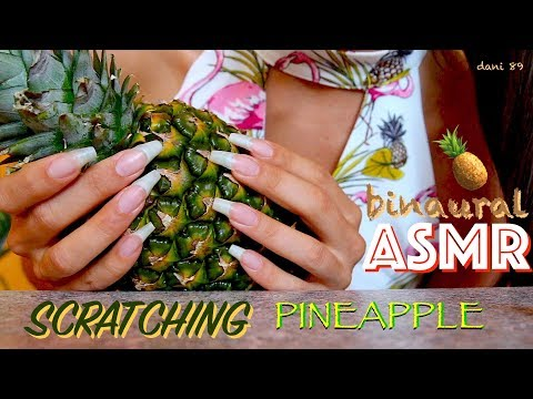 🍍a NEW TRIGGER for You? 🎧 super ASMR: NAIL-SCRATCHING PINEAPPLE 🍍✶ So satisfying ↬ with WET SOUND ↫