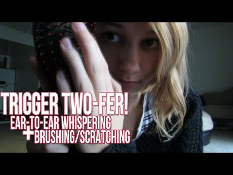 [BINAURAL ASMR] Trigger Two-fer! Ear-to-Ear Whispering / Brushing and Scratching
