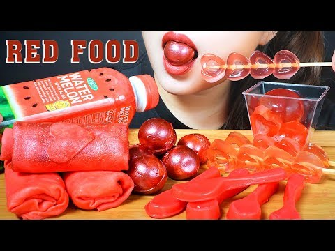 ASMR RED FOOD | EDIBLE TOWEL CREPES ROLL CAKE ,GLITTER GUMMY BALL ,JELLY , EDIBLE CHOCOLATE SPOON
