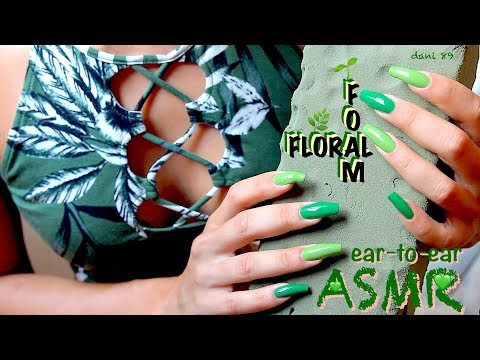 💚ALL GREEN💚ASMR ♥ Playing with Floral Foam ❀ So satisfying 💚 poking, tapping, breaking, scratching 🎧