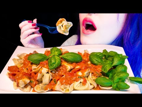 ASMR: Creamy Tortellini Pasta w/ Tomato Basil Sauce ~ Relaxing Eating Sounds [No Talking|V] 😻
