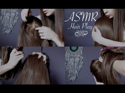 ASMR Hair Play  (brushing/scalp check/tying up with scrunchies)