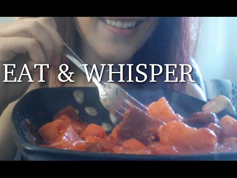 ASMR - HAVE LUNCH WITH ME! ~ Eating Vegan Root Veggie Stew & Whispering ~